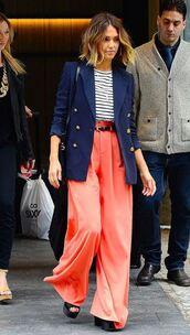 pants,top,wide-leg pants,jessica alba,blazer,striped shirt,jacket