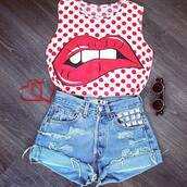 tank top,kiss,lips,shorts,shirt,blouse,retro,ripped shorts,red,polka dots,sleveless,jeans,ripped