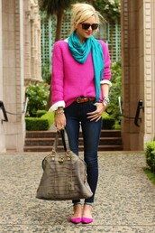 sweater,pink knit,turquoise scarf,shoes,bag,cardigan,pants