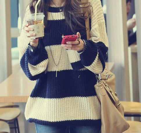 Womens Soft Striped Baggy Jumper Sweater 6-12 | eBay