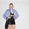 Express vintage 1990s pastel blue rabbit fur women's coat – vanguard vintage clothing