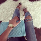 jeans,ripped jeans,ripped light jeans,denim,denim overalls,custom made,custom,custom jean jackets,shoes,high heels,blue high heels,bag,light blue,summer outfits,nail polish,jewels,rings and tings,ring,pastel bag