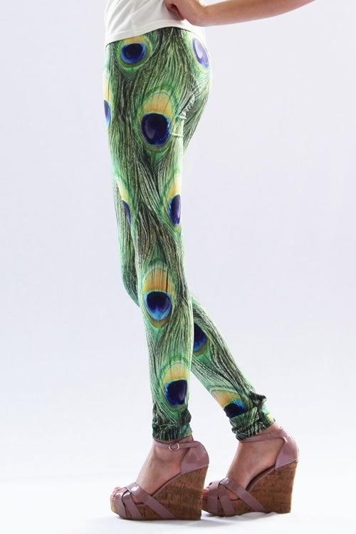 Cheap Sexy Green Peacock Feather Long Leggings