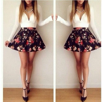 white top long sleeves mini skirt statement necklace floral skirt black skirt silk satin dance party nylons