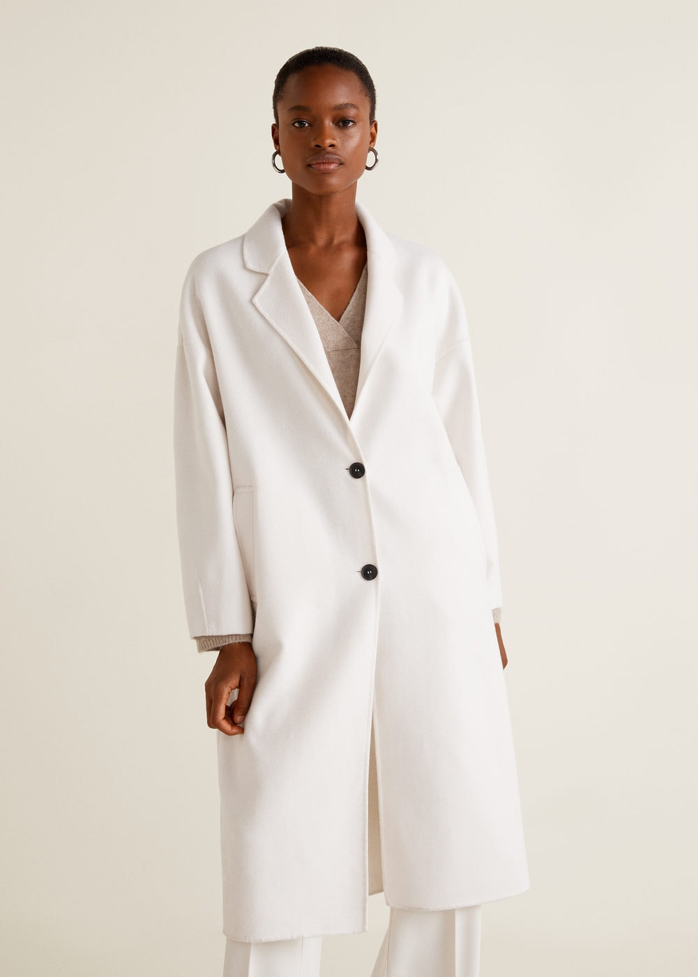 Unstructured wool-blend coat - Women | Mango USA