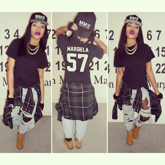 black skirt ripped jeans timbalands jersey chain