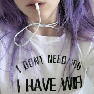 blouse t-shirt black and white kawaii shirt style wifi grunge shirt pop punk rock alternative white sweater teenager grunge like you punk rock pop punk white t-shirt wifi sweater indie hipster top haut purple hair