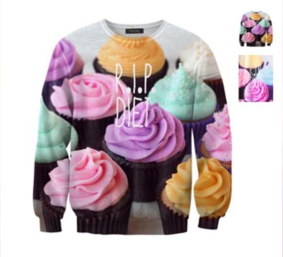 cute food colorful top jumper cupcake sweatshirt sweater pastel