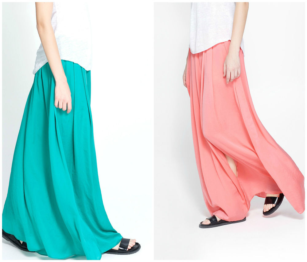 Zara Beautiful Flowing Turquoise or Coral Maxi Long Skirt Gorgeous New | eBay
