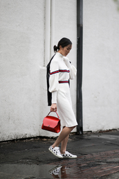 the chriselle factor,blogger,jacket,sweater,skirt,shoes,bag,make-up,white dress,red bag,black leather jacket,sneakers,tumblr,patch,black jacket,leather jacket,customized,lace up