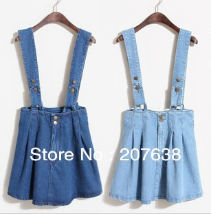 Best Selling!!multifunction women overalls ladies high waist slim denim skirt Braces jeans skirt free shipping-in Skirts from Apparel & Accessories on Aliexpress.com