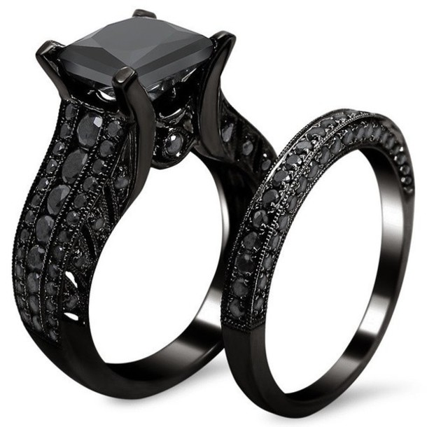 jewels fashion jewelry evoleescom magnificent 20ct princess cut black diamond wedding set in - Womens Black Wedding Rings