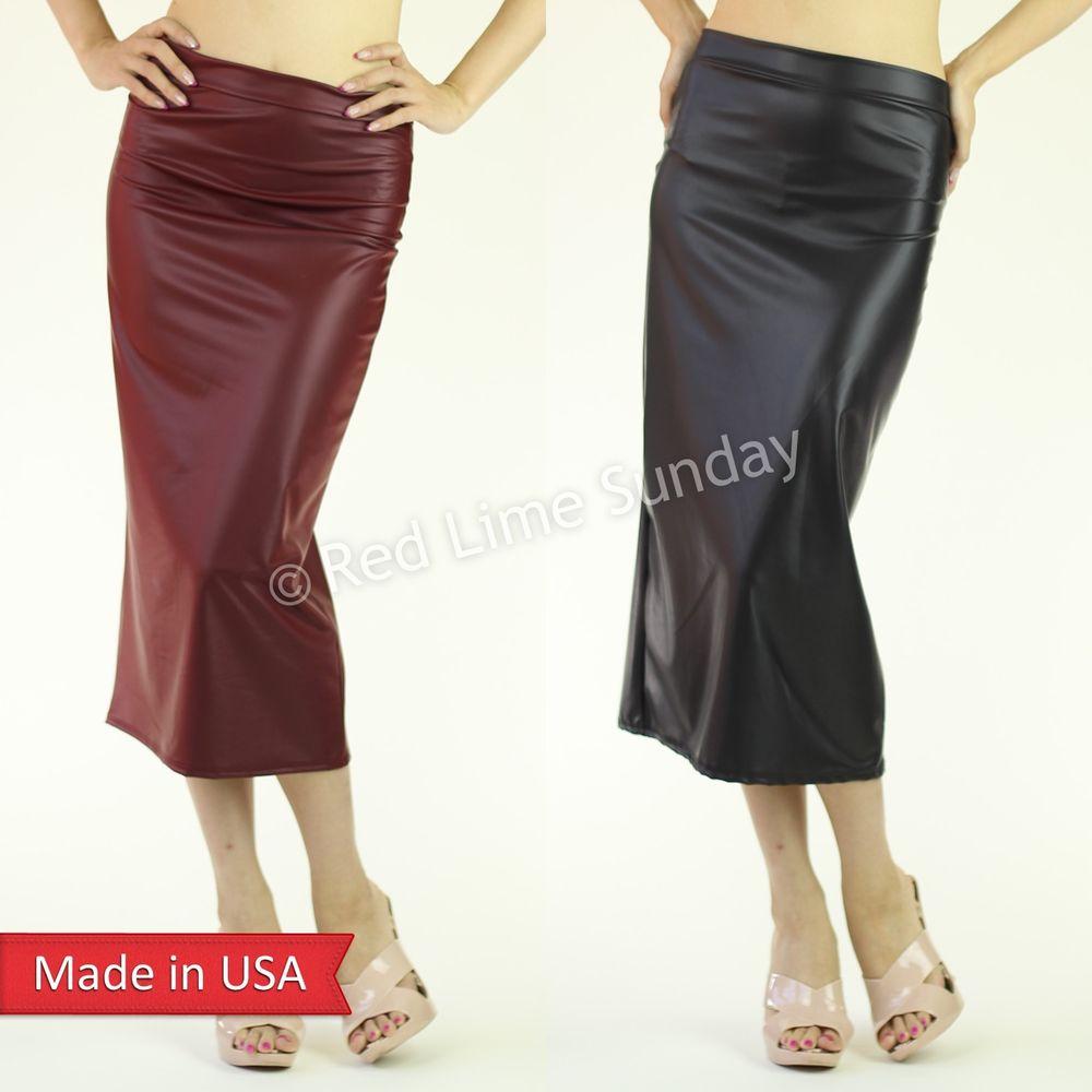 Women Faux Leather Leatherette Matte Black Burgundy Midi Length Pencil Skirt USA