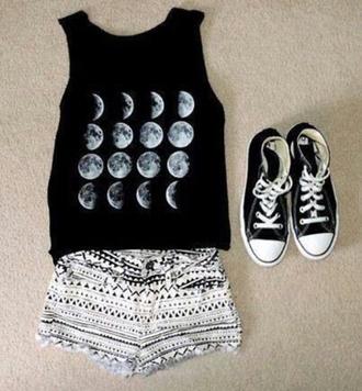 shirt lunar t-shirt crop tops shorts converse shoes