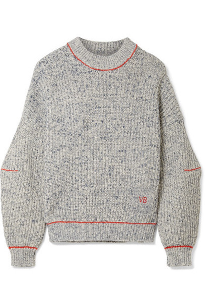Victoria Beckham sweater embroidered cotton blue wool