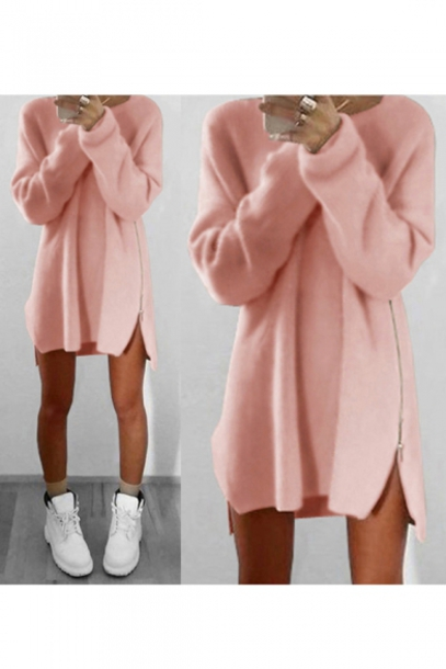 Dress: sweater dress, pink, fashion, style, trendy, girly, light ...