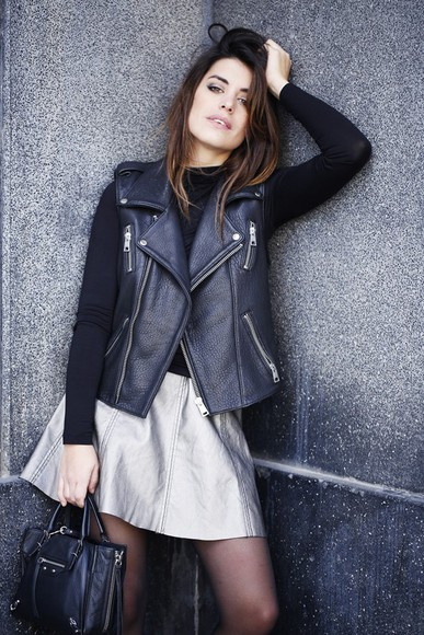 silver blogger bag dulceida skater skirt leather jacket
