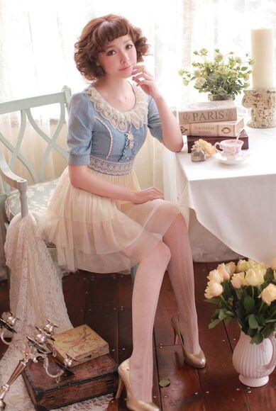 polka dots chiffon dress kawaii dress peter pan collar
