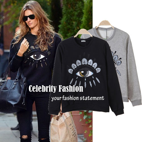 TD67 Celeb Style Runway Big Eye Applique Cotton Jumper Sweatshirt Sweater Top | eBay