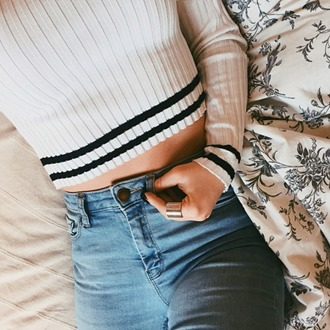 top pull small jeans long sleeves black stripes striped top white top