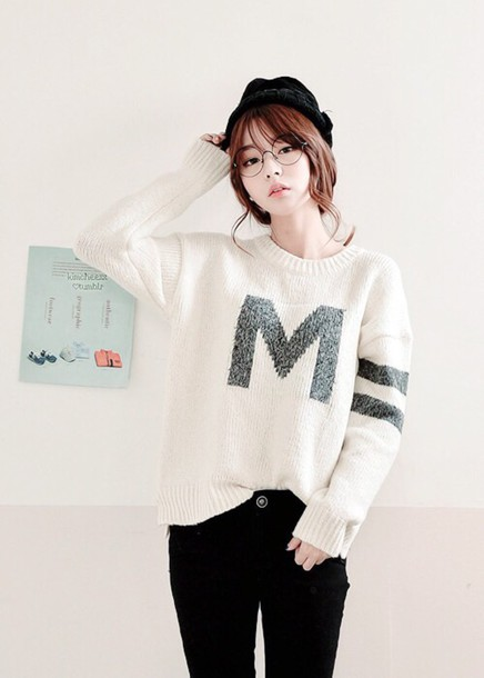 sweater oversized sweater white sweater kfashion hipster