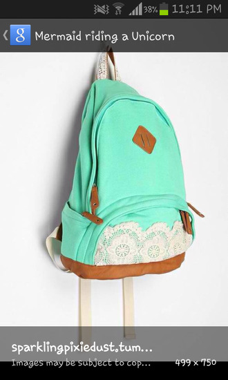 bag turquoise lace backpack