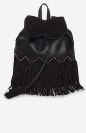 bag,black fringe leather chic,gold studs,leather,fringed bag,leather backpack,black leather bag,studded bag