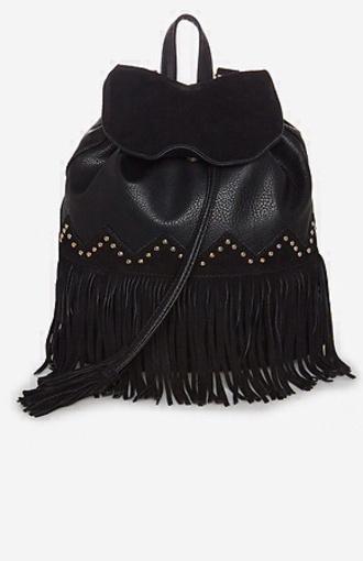 bag black fringe leather chic gold studs leather fringed bag leather backpack black leather bag studded bag