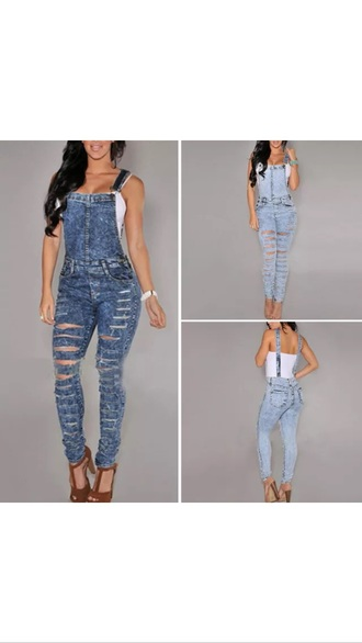 jumpsuit overalls acid wash jeans ripped jeans