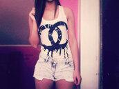 tank top,chanel,shorts,High waisted shorts,clothes,shirt,black,white,cute