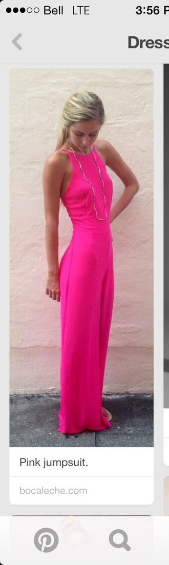 dress pink dress pink jumpsuit sleeveless hot pink prom dress maxi
