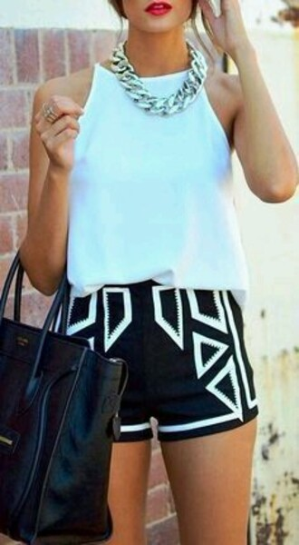 shorts black and white shorts