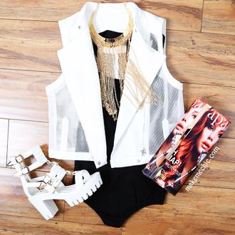 shoes necklace lug sole clutch bodysuit vest chunky sole chunky heels jacket jewels dress mesh