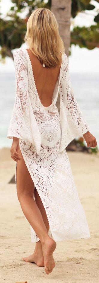 dress white crochet maxi dress backless dress swim cover up