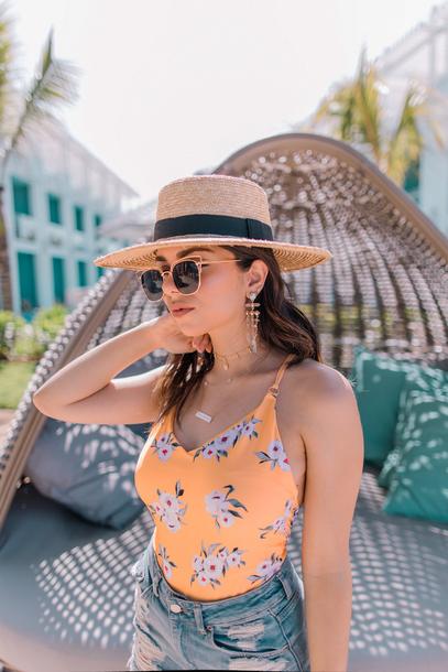 swimwear hat sun ha tumblr one piece swimsuit floral floral swimsuit denim denim shorts sunglasses necklace earrings jewels jewelry accessories Accessory shorts