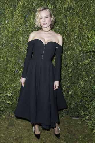 dress diane kruger bustier bustier dress off the shoulder off the shoulder dress black dress midi dress pumps fashion week 2017 fashion week