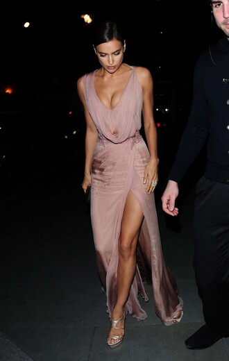 dress gown plunge v neck irina shayk sandals slit dress