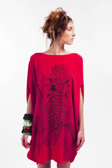 dress ambrym ananas pinapple dress red dress pineapple print red