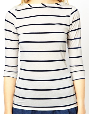 ASOS Tall | ASOS TALL Slash Neck 3/4 Sleeve Breton Stripe Top at ASOS