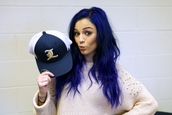 sweater,oversized sweater,baggy top,baggy shirt,studded top,studded sweater,studded jumper,studded crewneck,stud,studs,shirt,cher lloyd,blue hair,clothes,hat