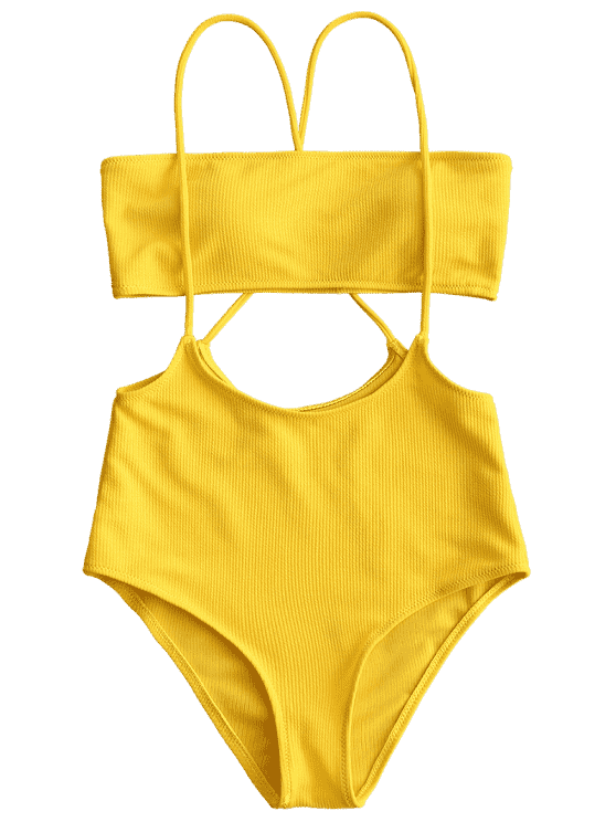 8ff4d608ea Bandeau Top and High Waisted Slip Bikini Bottoms