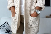 sweater,pretty,comfy,big,warm,blouse,coat,white,soft,jacket,knitted cardigan,knitwear,cardigan,white jacket,winter jacket,fashion,style,outfit,cream,where to get this cardigan,cream/beige