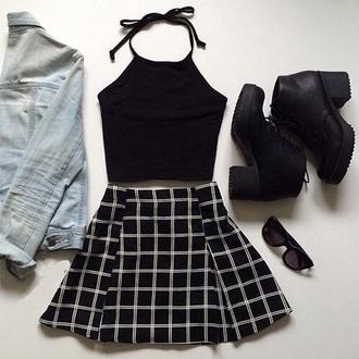skirt halter flannel mini shirt