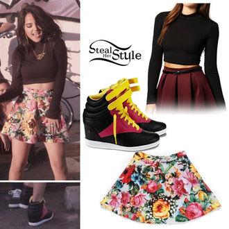 shoes wedges crop top bralette skater skirt skater skirt floral black becky g yellow burgundy skirt t-shirt
