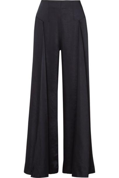 pants wide-leg pants blue satin