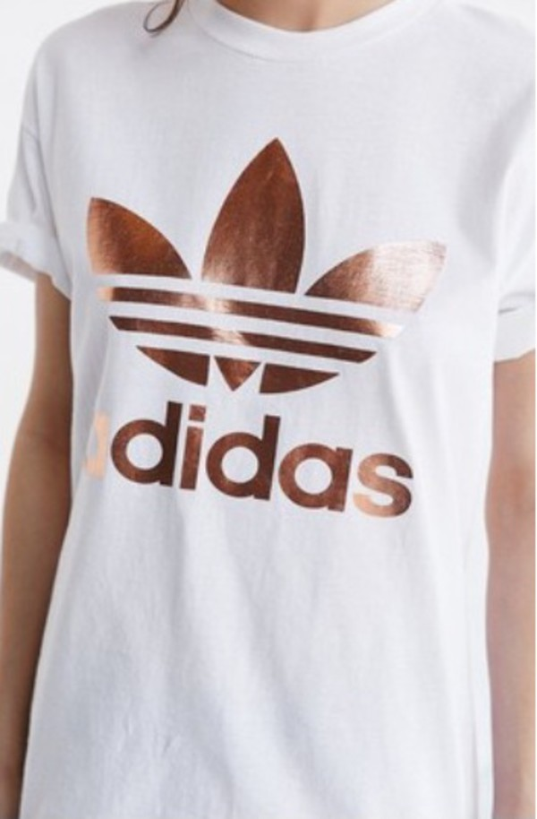 adidas originals rose gold double logo tee uk
