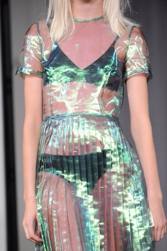 sheer holographic dress