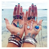 jewels,boho,sun,beach,rings and tings,style,accessories,summer,bracelets,necklace,boho chic,bohemian,moon,sunglasses,crystal quartz,pants,hair accessory,hat,stacked bracelets,summer accessories,gemstone ring,crystal,jewelry,ring,knuckle ring,silver,silver ring,silver jewelry,boho jewelry,moon necklace,ring set