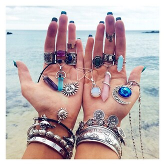 jewels boho sun beach rings and tings style accessories summer bracelets necklace boho chic bohemian moon sunglasses crystal quartz pants hair accessory hat stacked bracelets