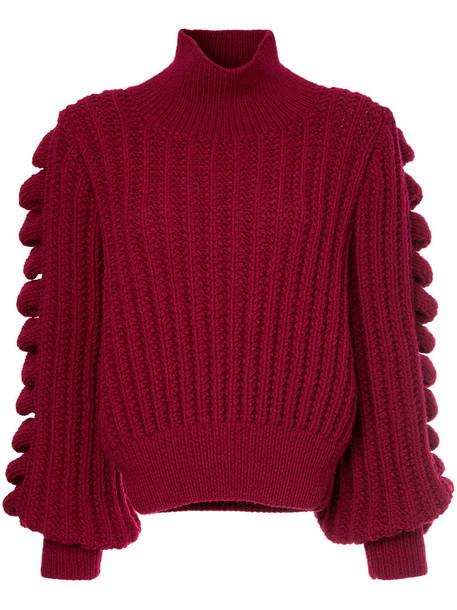 Liya jumper turtleneck women wool red sweater